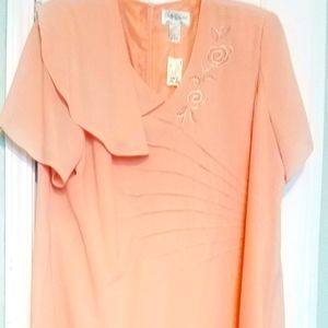 Peach Mother of the bride dress